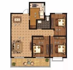 (龙都)东升·公园印象3室2厅1卫123m²精装修